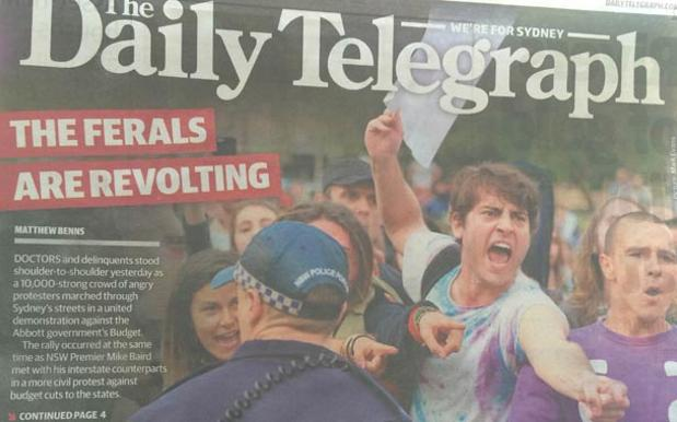 """The Daily Telegraph Goes With """"The Ferals Are Revolting"""" For Front Page March In May Headline"""