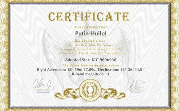 Ukrainian Astronomers Name A Star 'Putin Is A Dickhead'
