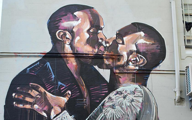 Kanye Finally Gets On Kim's Level, Cops His Own Massive Mural In Sydney