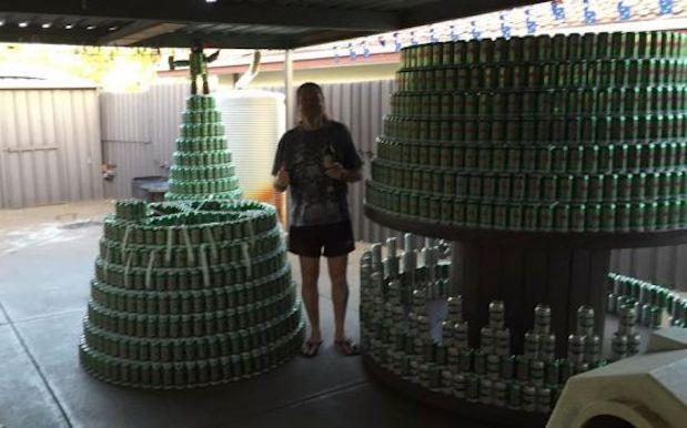 Perth Hero Builds 4.4 Metre Christmas Tree Out Of 2,536 VB Cans For Charity