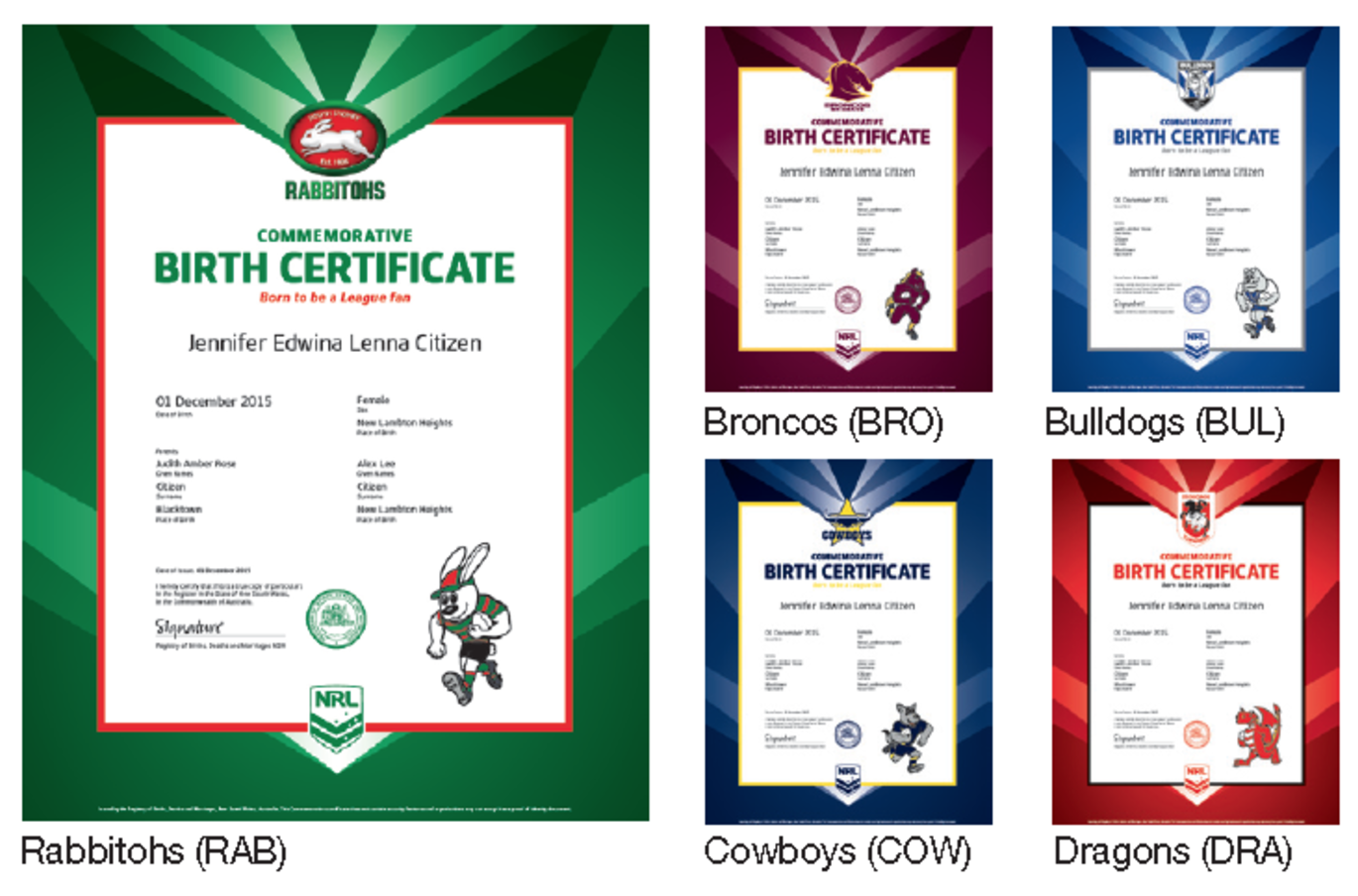You can get your nrl loving mitts on a your team themed birth for the low low price of 77 you get yourself a standard non nrl birth certificate and a fancy pants commemorative one dont think this is limited to aiddatafo Choice Image