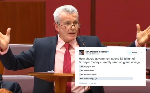 One Nation's Malcolm Roberts Got Gloriously Rumbled By His Own Twitter Poll