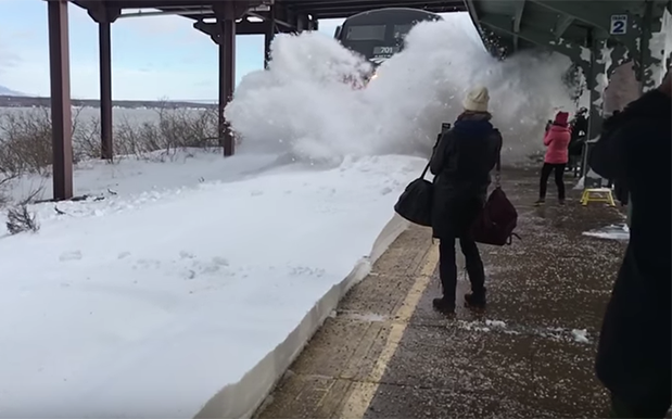 WATCH: Train Blasts The Fuck Out Of Bystanders With Post-Blizzard Snowpile