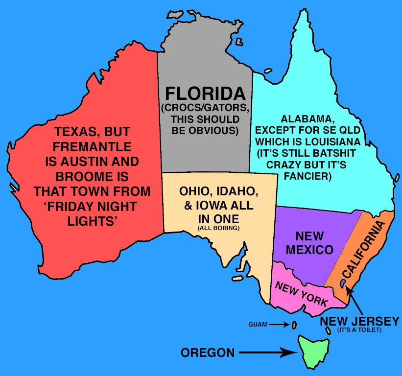Argue Forever Over This Map That Pairs AUS States With Their US - Accrate map of us