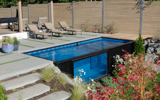 This Shipping Container Is Half Pool, Half Hot Tub & Will 100% Get You Wet