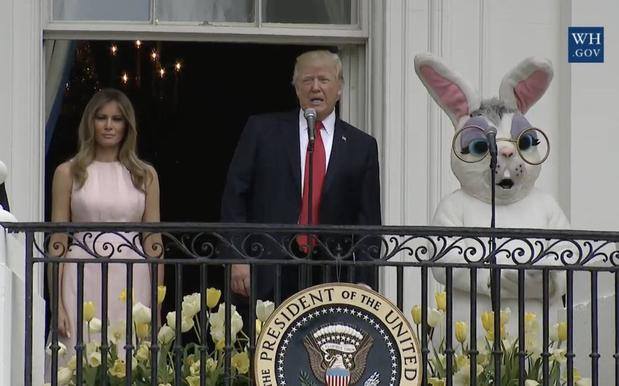 The Internet Is Enjoying This Nightmarish Pic Of Trump W/ An Easter Bunny