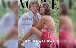 Aussie Model Jordan Barrett Straddled By Bella Hadid For Fire 'Vogue' Cover