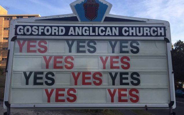 Gosford Anglican Church Lifts Billboard Game With YES YES To Marriage Equality