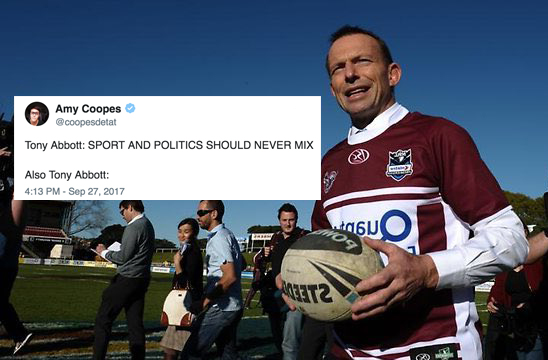 Tony Abbott Says Sports & Politics Shouldn't Mix, Is Immediately Rinsed