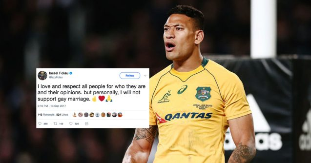 Israel Folau Comes Out Against SSM A Day After Rugby Union Declares Support