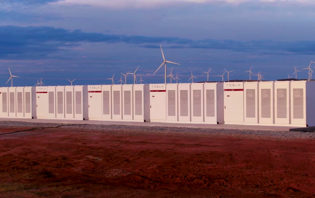 Tesla giant battery set for testing