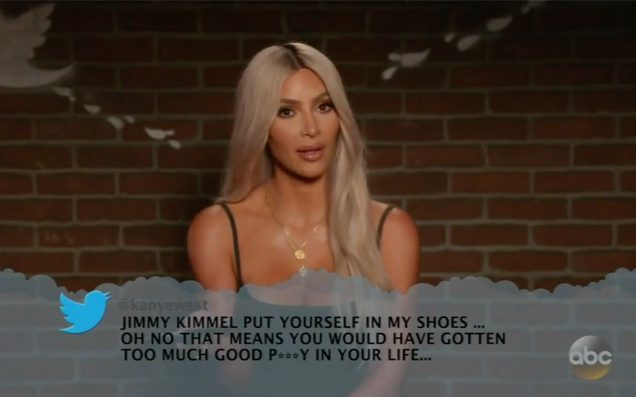 Kim Kardashian Reading Kanye West's Mean Tweet to Jimmy Kimmel Is Everything