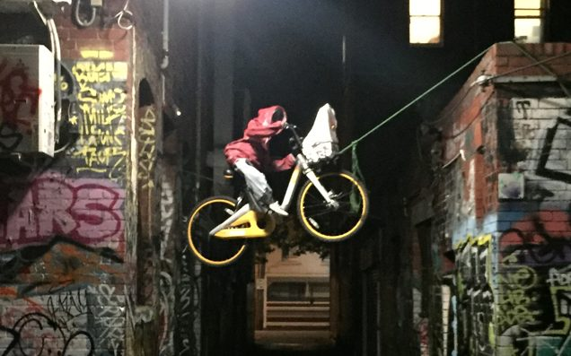 Some Absolute Genius Has Strung An oBike Up Like E.T. In Melbourne