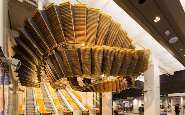 Wynyard Station's Wooden Escalators Have Returned As Hectic Public Art