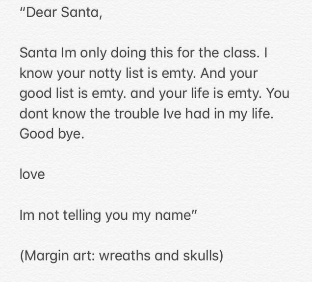 Year-Old Doesn't Mince Words In Brutal Takedown Of Santa Claus