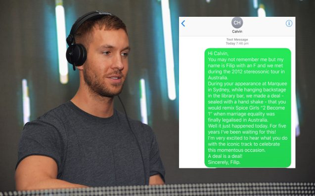 Calvin Harris Urged To Keep A SSM Promise He Made In A Sydney Club In 2012