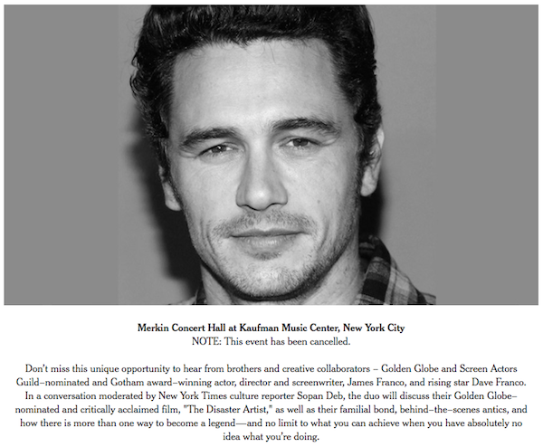 The New York Times Cancels Public Conversation With James Franco