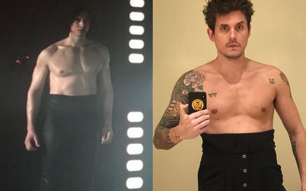 John Mayer Goes Shirtless in 'Star Wars'-Inspired Kylo Ren Challenge Photo