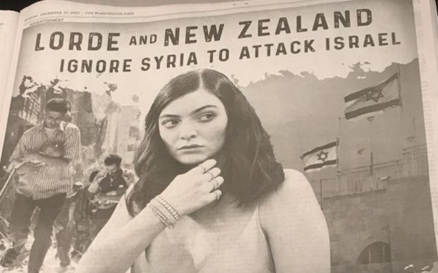 New Zealand Jewish Council Defends Lorde After Attack Ad In Washington Post