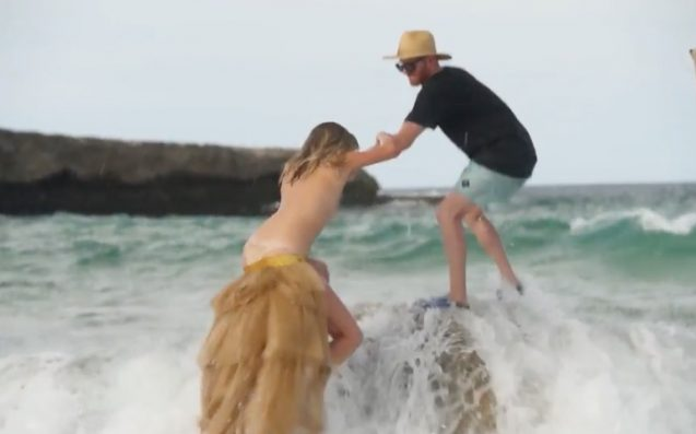 A Topless Kate Upton Goes Ass Over Tit Off A Rock During Swimsuit Shoot