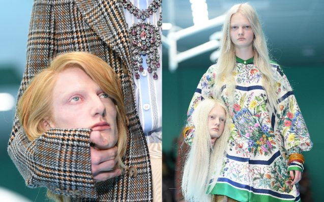 Gucci models walk runway - holding replica of severed heads, dragons and snakes