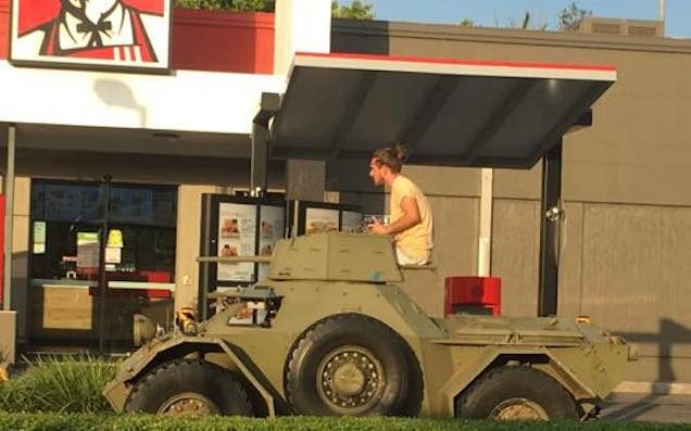 We Officially Endorse This Hero Getting KFC Drive-Thru In A Tank For President
