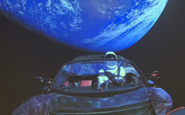 Elon musk launched his own tesla into space with a stupid for Outer space design group pty ltd