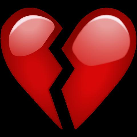 Broken Red Heart Emoji Large Pedestrian Tv