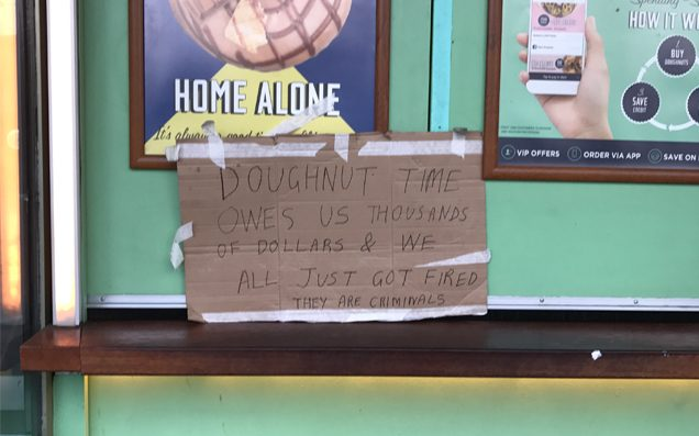 Doughnut Time Is Done, With All Stores Closed & Staff Owed $200K In Backpay