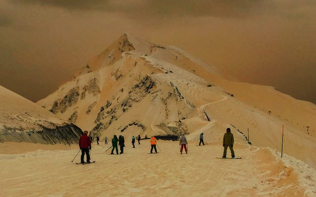 Russian Ski Fields Are Being Hit By Apocalyptically Beautiful Orange Snow