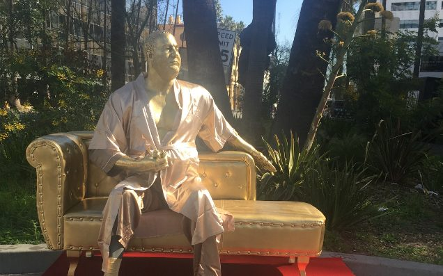 Harvey Weinstein 'Casting Couch' statue debuts on Hollywood Boulevard pre-Oscars