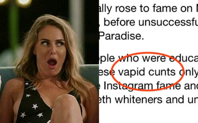 "The Daily Mail Is Sorry It Called 'Bachelor In Paradise' Stars All ""Vapid C*nts"""