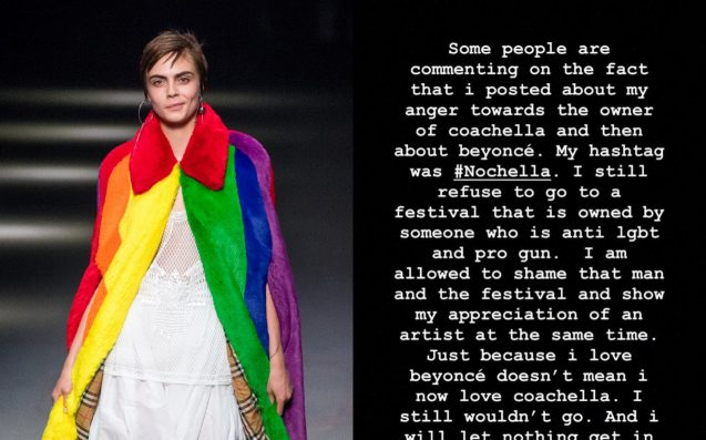 Cara Delevingne Cops Flak For Reminding Fans That Coachella Is Owned By A Bigot