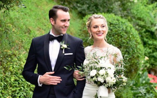 Harry Potter star Matthew Lewis shares wedding photo with Angela Jones