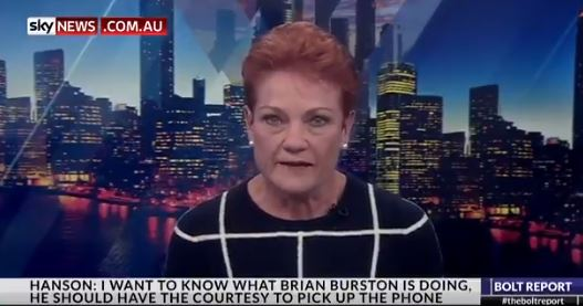 Pauline Hanson Breaks Down After Row W/ One Nation Senator Brian Burston