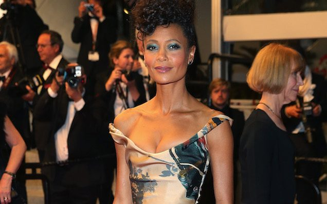 Here's Thandie Newton In A Dress Printed With Her Own Star Wars Toy Collection On It